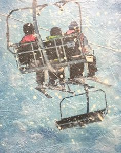 On the Lift, encaustic ski painting by Lee Anne LaForge Bear Paintings, Cute Paintings, Sports Painting, Cast Glass, Blue Color Schemes, Encaustic Painting, Canadian Artists, Painted Doors, Winter Landscape