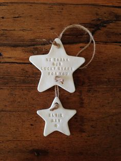 Two star clay decoration with free personalisation  by TwoAndBoo