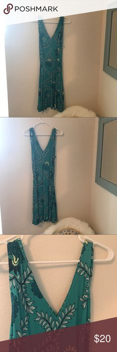 Loft Turqoise V neck Summer Dress Turquoise summer dress with v-neck and adjustable tie around waist. Very lightweight and comfortable for summer. Worn 1x. LOFT Dresses