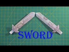 how to make money origami sword tutorial hướng dẫn cách làm cây kiếm bằng tiền giấy - Sáng tạo xanh Dollar Origami, Money Origami, Origami Easy, Origami Sword, Diy Paper, Paper Crafts, Youtube, Handmade, Easy Origami