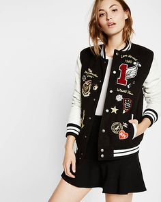 leather and flannel embellished varsity jacket