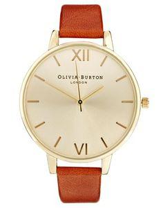 Bild 1 von Olivia Burton – Uhr mit großem Zifferblatt und braunem Armband