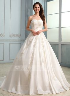Wedding Dresses - $256.99 - Ball-Gown Sweetheart Chapel Train Taffeta Wedding Dress With Ruffle Lace Beadwork (002030757) http://jjshouse.com/Ball-Gown-Sweetheart-Chapel-Train-Taffeta-Wedding-Dress-With-Ruffle-Lace-Beadwork-002030757-g30757?pos=related_products_8