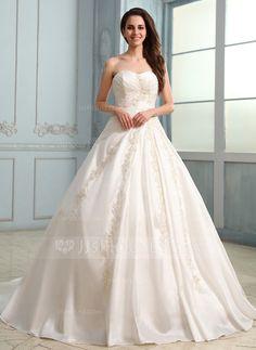 Ball-Gown Sweetheart Chapel Train Taffeta Wedding Dress With Ruffle Lace Beading (002030757)
