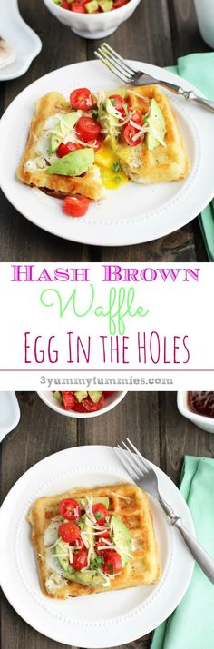 Hash Brown Waffles are used as the base of this delightful version of Egg in the Holes with a simple Tomato Avocado Salsa...my new favorite breakfast!