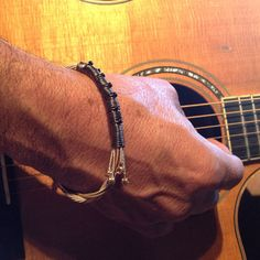 Men's Recycled guitar String Bracelet with Beads by StrumthingNew, $23.00