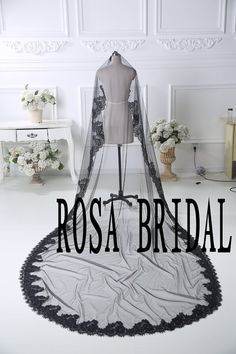 Custom Black Lace edge with White Tulle Length 118 inchs Wide 108 inchs. My veil! But the tulle will be white! Cannot wait.