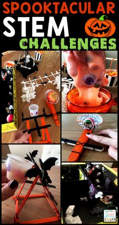 These spooky STEM challenges are a great way to keep your Halloween party educational and fun! Halloween Science, Halloween Activities, Autumn Activities, Science Activities, Classroom Activities, Halloween Party, Science Experiments, Halloween Ideas, Science Classroom