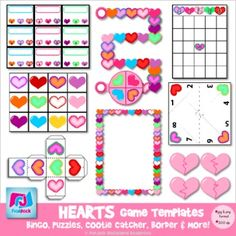Heart Game Templates - Commercial & Personal Use This product is full of adorable heart-themed game templates that will brighten your classroom centers and/or TpT store!  Contents: * Game board and spinner * Cootie Catcher * Heart Border * Game Cube * Broken Heart Puzzles * Bingo Card * Matching Cards * Poke Game Cards (a fun, self-checking activity) $