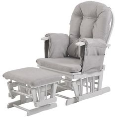 Nice Grey White Rocking Chair Baby Nursery Glider Footstool Newborn Feeding Soothing Choice Materials Chairs For Mum