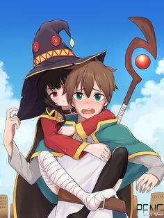 megumin x kazuma Anime Girl Cute, Kawaii Anime Girl, Anime Love, Konosuba Anime, Fan Art Anime, Animes Wallpapers, Disney Marvel, Anime Fantasy, Anime Style
