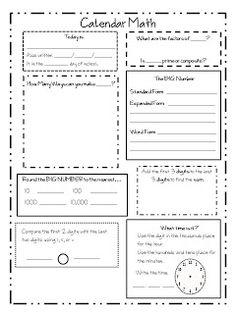 Worksheets Calendar Math Worksheets thousands hundreds tens ones standards met visual calendar math