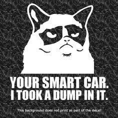 GRUMPY CAT DUMPED IN SMART CAR DECAL STICKER HATE ECO GREEN HYBRID LOVE GAS