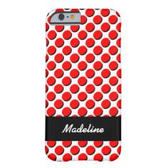 Trendy iPhone Case with Shadow Polka Dots, Red & Black on White; shadows give a 3-D effect; personalize with your name in white on the black ribbon label. Select CUSTOMIZE to choose your case from a number of iPhones, iPads, or other phone brands.