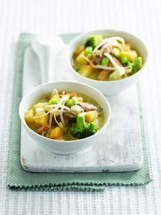 Wok met rundsvlees en groene curry