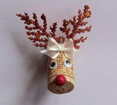 Wine Cork Reindeer Christmas Magnet New Handmade USA