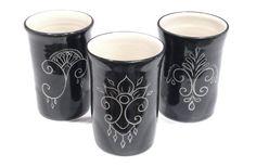 Floral Black Porcelain Tumbler by PaulaFocazioArt on Etsy
