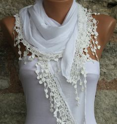 White   Shawl Scarf   Cowl by fatwoman on Etsy, $17.00