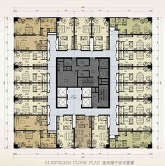 Wanda Yinchan Hotel Plan Hotel, Hotel Floor Plan, Hotel Design Architecture, Plans Architecture, House Plan With Loft, Family House Plans, Residential Building Plan, Office Building Plans, Office Floor Plan