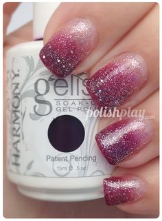 "Sparkly Gelish ""Plum and Done"" gradient manicure"