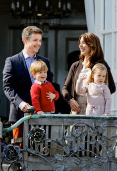 Crown Prince Frederik, Crown Princess Mary, Prince Vincent and Princess Josephine,  celebrate the 74th birthday of Queen Margrethe at Marselisborg palace in Aarhus, Denmark, 16 April 2014.
