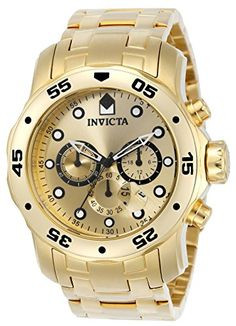Invicta Men's 0074 pro Diver Analog Japanese Quartz Gold-plated Stainless Steel Watch: With a bold design, this Invicta chronograph has a poised and calm ambience that's sure to have you looking twice. Relogio Invicta Pro Diver, Invicta Watches Pro Diver, Casual Watches, Cool Watches, Watches For Men, Men's Watches, Stylish Watches, Wrist Watches, Luxury Watches