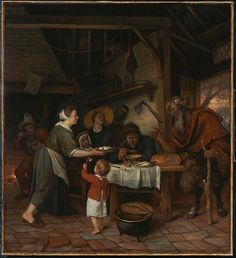 Jan Steen (Dutch - The Satyr and the Peasant Family - Google Art Project