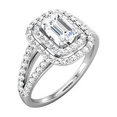 White Gold Double Halo Emerald Split-Shank Engagement Mounting ($2,244) ❤ liked on Polyvore featuring jewelry, rings, white gold jewellery, band jewelry, emerald jewelry, band rings and emerald band ring