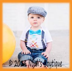 Boys First Birthday Outfit - Number One Outfit - Grey Suspenders Blue Bow Tie - Orang Aqua Red Plaid Number One - 1st Birthday - Cake Smash  by Noah's Boytique, $23.00