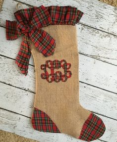 Burlap Christmas Stocking with Red Plaid by ClaraGraceBoutique