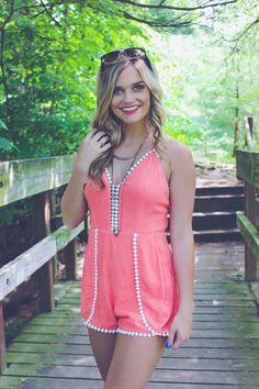 Peach Gauzy Linen Crochet Detail Romper | UOIOnline.com: Women's Clothing Boutique