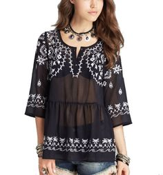 Free People Pennies Sequel Top Medium 6 8 Navy Blue Embroidered Blouse Shirt NWT #FreePeople #Blouse #Casual