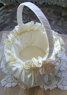 Wedding Flowergirl Basket Available in Ivory by RoseGardenStitches, $30.00