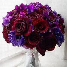 Anyone have photos of their purple wedding?  Need help with colors. :  wedding decor purple reception romantic 115543bouquet Purple Red 2