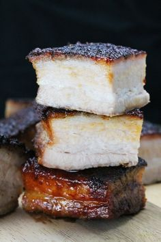 Crispy Roasted Pork Belly from The Stay At Home Chef. It's really quite easy to make and the result? This is the kind of pork that melts in your mouth and has you drooling for more. Ground Beef Recipes, Pork Recipes, Cooking Recipes, Crispy Pork Belly Recipes, Game Recipes, Baked Pork, Grilled Pork, Bbq Pork, Gastronomia