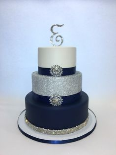 Navy Blue, Silver and White 3 tier sweet 16 Cake