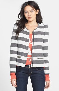 Harlowe and Graham Stripe Collarless Jacket
