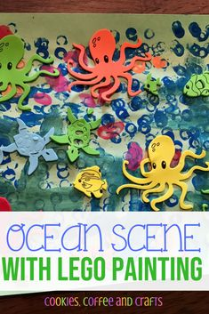 Ocean Scene with LEGO Painting - Cookies Coffee and Crafts Lego Painting, Coral Painting, Preschool Painting, Painting For Kids, Easy Crafts For Kids, Diy Arts And Crafts, Toddler Crafts, Crafts To Do, Kindergarten Crafts