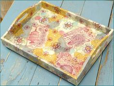 Tray decorated by Jean with various CI stamps