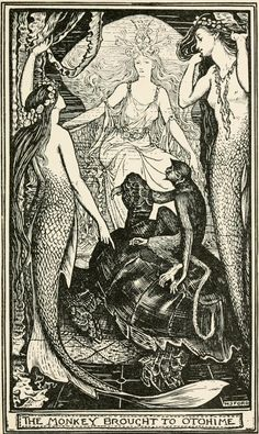 'The Monkey and the Jelly-fish' The Violet Fairy Book by Andrew Lang, 1901.