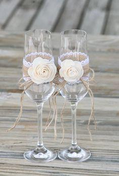 Wedding Glasses Wedding Ceremony Keepsake Rustic Chic Shabby Sola Flower Rustic Toasting Flutes Cham