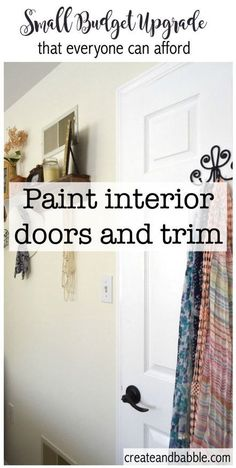 Painting interior doors and trim is home improvement that just everyone can afford. Learn three easy tips to painting doors and trim. Masonite Interior Doors, Painted Interior Doors, Black Interior Doors, Interior Trim, Painted Doors, Interior Painting, Painted Furniture, Simple Interior, Interior Design