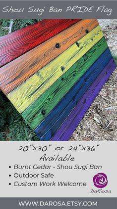 LGBTQ Pride Flag made of Wood Rustic Home Decor Shou Sugi image 9