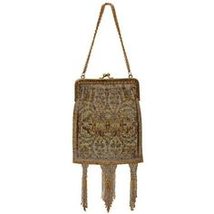 Preowned 1920s Gilt Frame Beaded Flapper Bag (€335) ❤ liked on Polyvore featuring bags, handbags, 1920s, dresses, vintage, brown, brown hand bags, vintage handbags, tassel purse and vintage purses