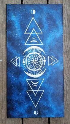 Sacred Geometry painting, geometric space painting, galaxy canvas painting, space canvas painting