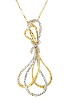 14K Yellow Gold Diamond Pendant, .65 TCW