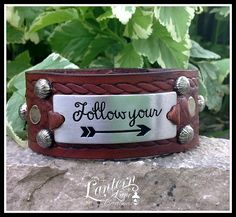 Leather Cuff Follow Your Arrow by LanternLaneCreations on Etsy