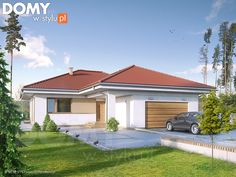 Houses: 6 x one-story homes with floor plans Layouts Casa, House Layouts, Bungalows, Bungalow Haus Design, Modern Family House, Modern Minimalist House, Exterior Color Schemes, Villa, One Story Homes