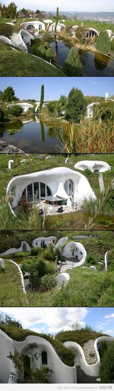 Earth House.  Looks like a Hobbit village. I could live here!