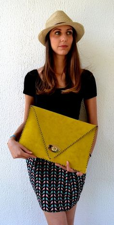 Hey, I found this really awesome Etsy listing at https://www.etsy.com/listing/153904303/handmade-large-leather-clutch-mustard
